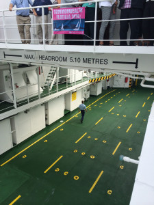 An empty car deck aboard MV Lochinvar