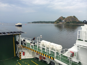 The MV Lochinvar passes Dumbarton Rock