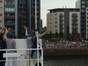Greeting the crowds as we enter Glasgow