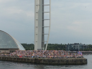 Hundreds of spectators lined the waterfront at the Glasgow Science Centre