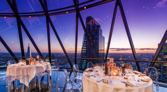 Level 39 - Gherkin dinner at night